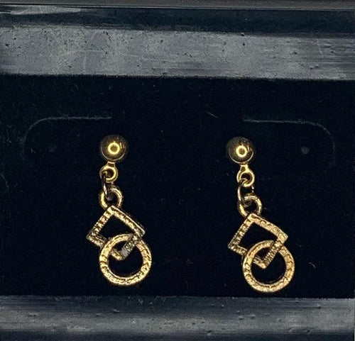 Gold Dangling Square & Round Dance Earrings, Jewelry - Square Up Fashions