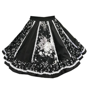 Black Classic Floral Square Dance Skirt