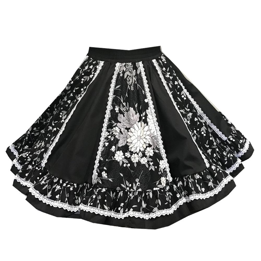 Black Classic Floral Square Dance Skirt, Skirt - Square Up Fashions