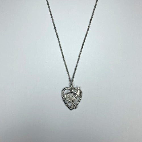 Silver Square Dancers Heart Necklace, Jewelry - Square Up Fashions