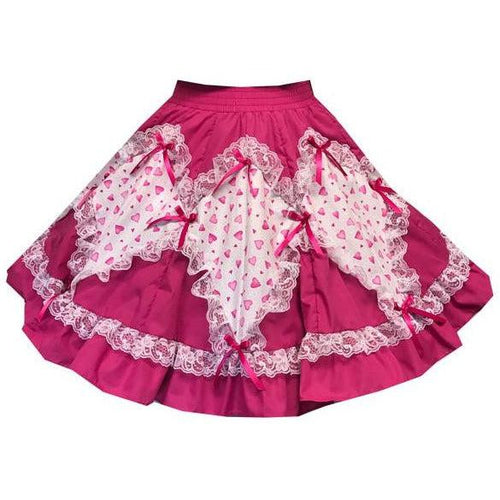 Valentines Day Heart Print Square Dance Skirt, Skirt - Square Up Fashions