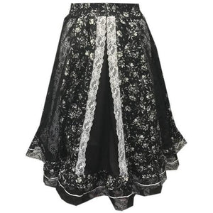 Black Lace Gore Prairie Skirt, Prairie - Square Up Fashions