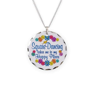 Square Dancing Happy Place Necklace Circle Charm, Jewelry - Square Up Fashions