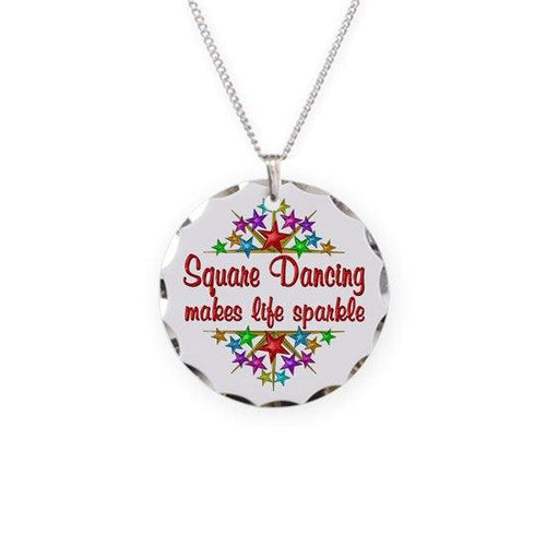 Square Dancing Sparkles Necklace Circle Charm, Jewelry - Square Up Fashions