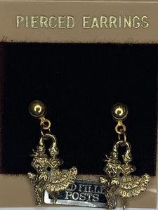 Gold Dangling Square Dancer Earrings, Jewelry - Square Up Fashions