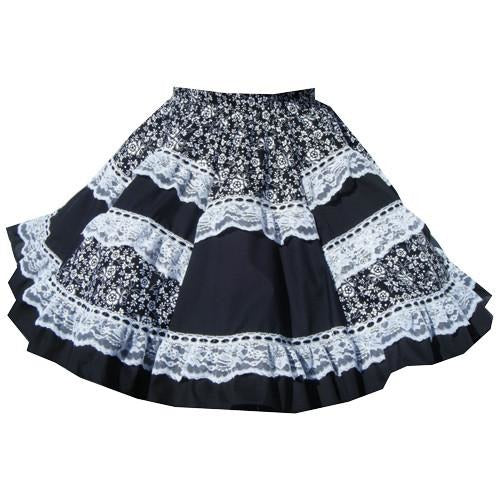 Black & White Square Dance Skirt, Skirt - Square Up Fashions
