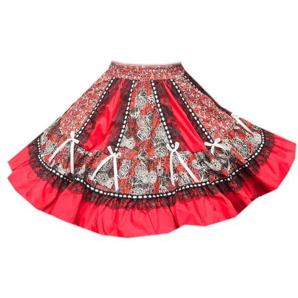 Red Timeless Ruffled Square Dance Skirt, Skirt - Square Up Fashions
