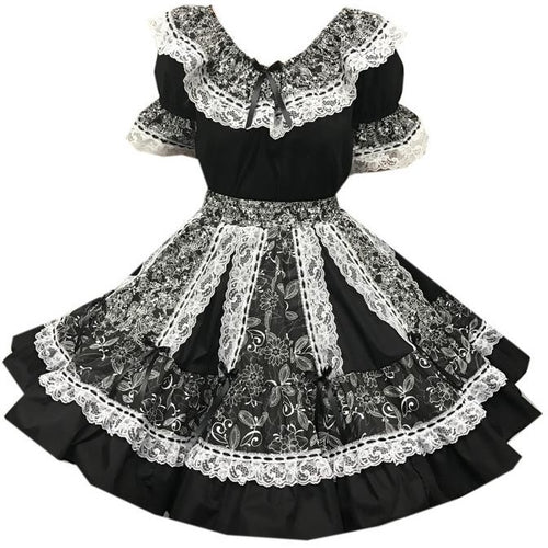 Black Elegant Ruffled Square Dance Outfit, Set - Square Up Fashions