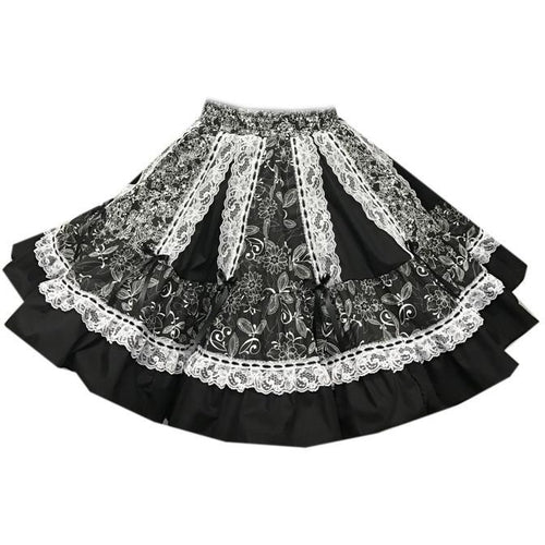 Black Elegant Ruffled Square Dance Skirt, Skirt - Square Up Fashions