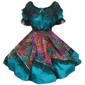 Dazzling Floral Square Dance Outfit