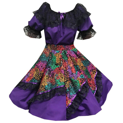 Style #802 Purple Floral Square Dance Outfit