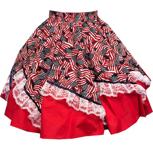 Red, White & Blue Square Dance Skirt, Skirt - Square Up Fashions