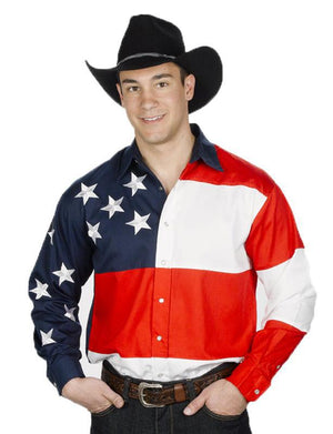 Stars & Stripes Men's Western Shirt, Mens Shirt - Square Up Fashions