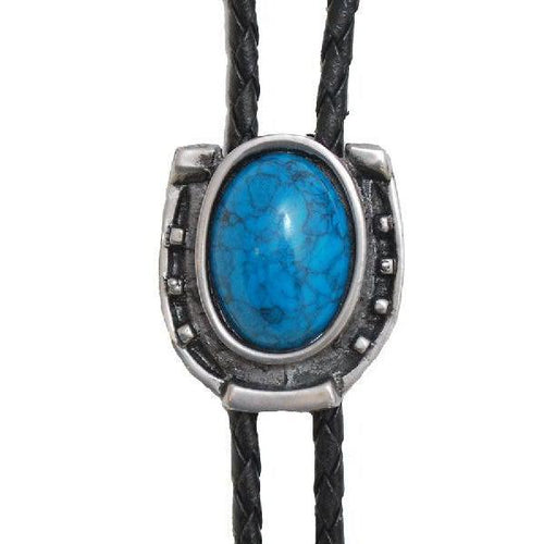 Antique Silver w/ Blue Stone Bolo Tie, Bolo Ties - Square Up Fashions