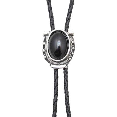 Onyx Antique Silver Bolo Tie, Bolo Ties - Square Up Fashions