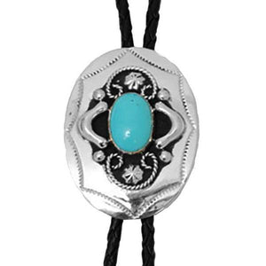 Silver Bolo Tie with Turquoise Stone, Bolo Ties - Square Up Fashions