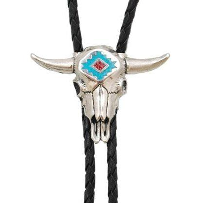 Steerhead Bolo Tie with Turquoise and Coral Inlay, Bolo Ties - Square Up Fashions