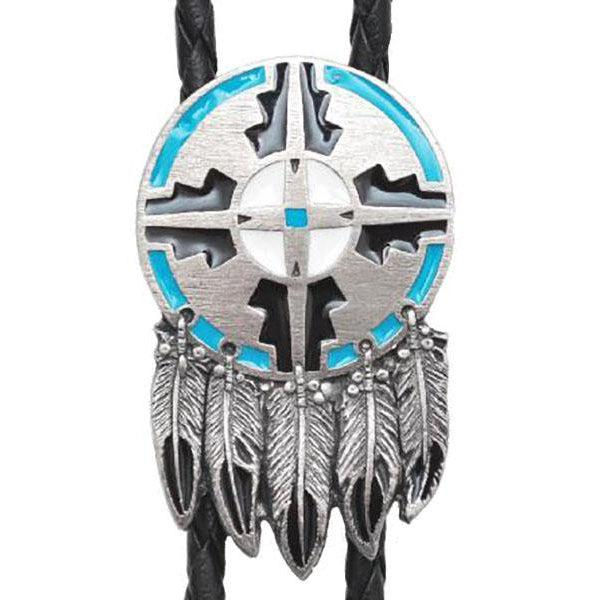 Shield and Feather Bolo Tie, Bolo Ties - Square Up Fashions