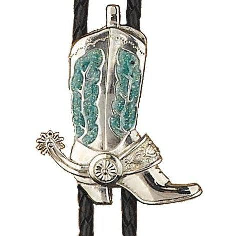 Silver & Turquoise Boot Bolo, Bolo Ties - Square Up Fashions