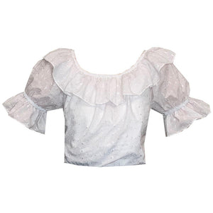 Eyelet Scoop Neck Blouse, Blouse - Square Up Fashions