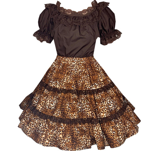 Leopard Print Square Dance Outfit, Set - Square Up Fashions