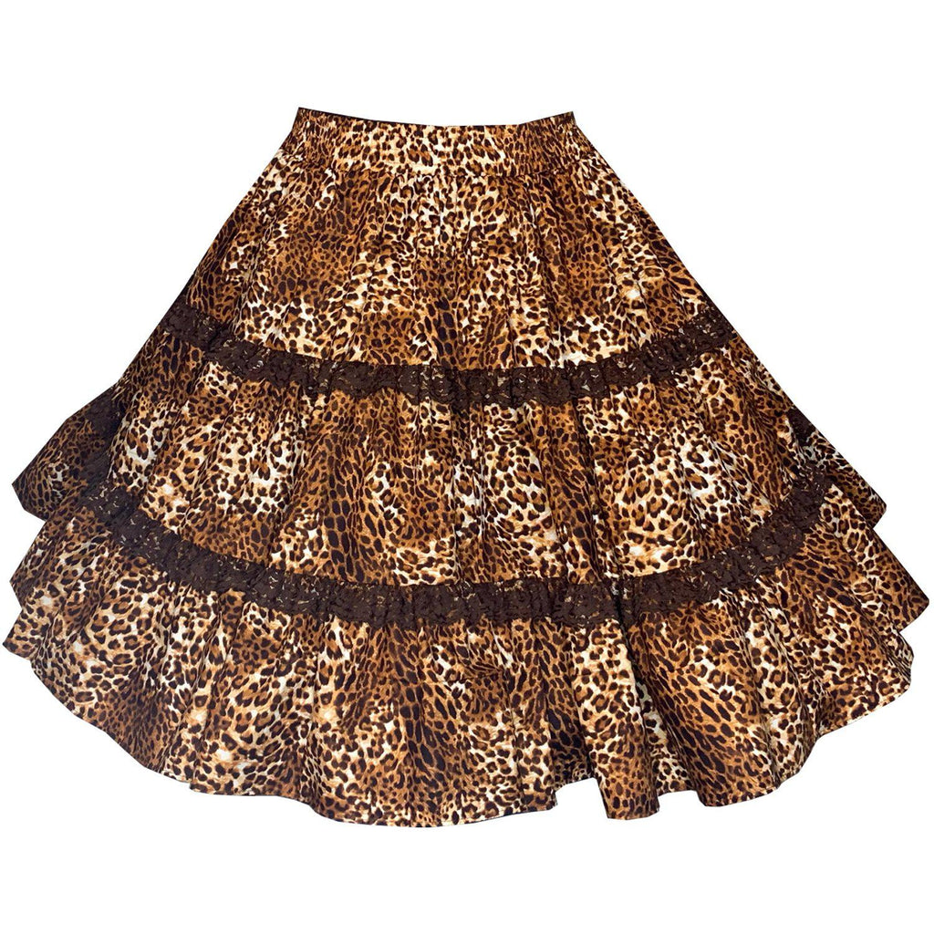 Leopard Print Square Dance Skirt, Skirt - Square Up Fashions