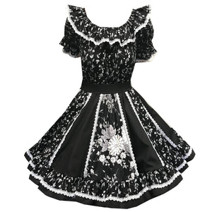 Black Classic Floral Square Dance Outfit, Set - Square Up Fashions