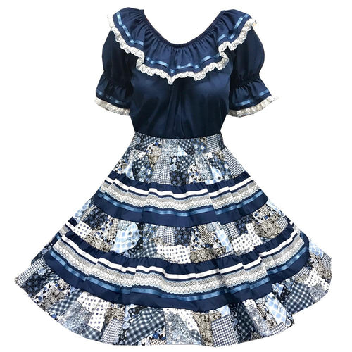 Blue Country Patch-Print Square Dance Outfit, Set - Square Up Fashions
