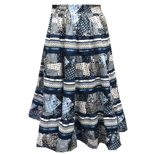 Blue Country Quilt Prairie Skirt, Prairie - Square Up Fashions