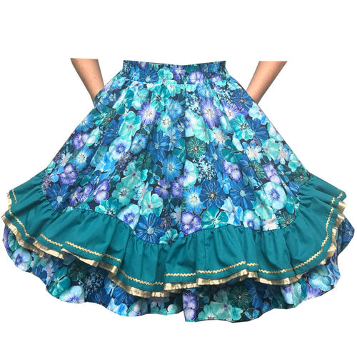 Floral Cosmos Square Dance Skirt, Skirt - Square Up Fashions