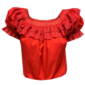 Fiesta Laced Round Neck Blouse, Blouse - Square Up Fashions