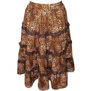 Leopard Print Prairie Skirt, Prairie - Square Up Fashions