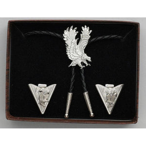 Diamond Cut Silver Eagles Bolo Tie & Collar Tip Set, Collar Tips - Square Up Fashions