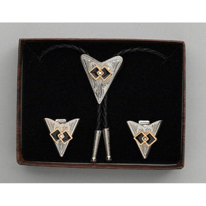Interlocking Squares & Austrian Crystal Bolo Tie & Collar Tip Set, Collar Tips - Square Up Fashions