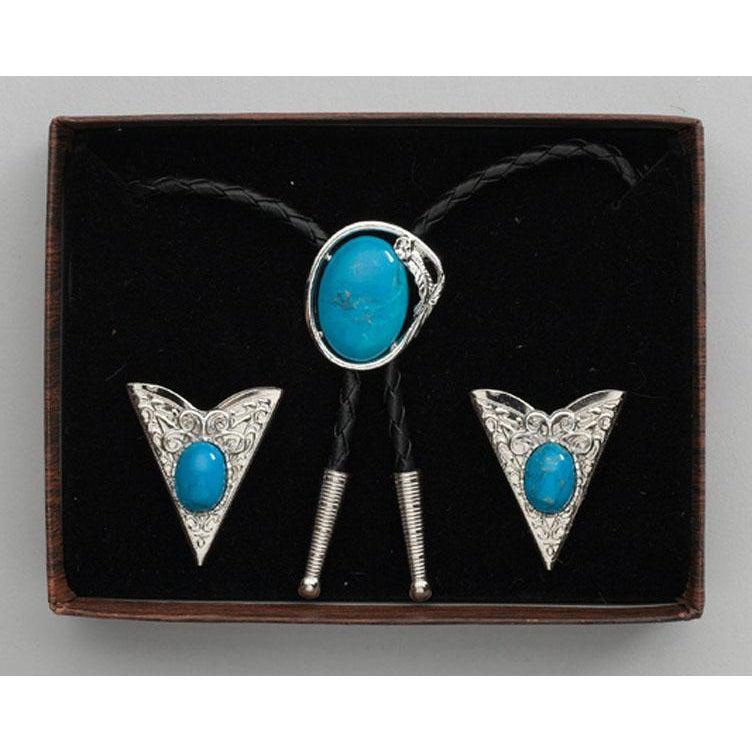 Turquoise Bolo Tie & Collar Tip Set, Collar Tips - Square Up Fashions