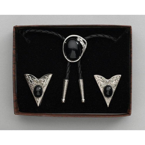 Black Stone Bolo Tie & Collar Tip Set, Collar Tips - Square Up Fashions