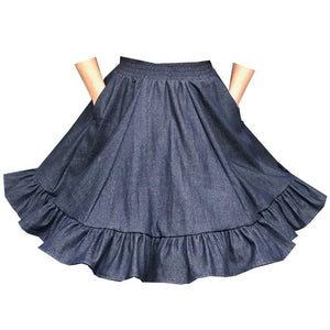 Denim Square Dance Skirt, Skirt - Square Up Fashions