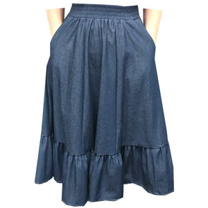 Denim Prairie Skirt, Prairie - Square Up Fashions