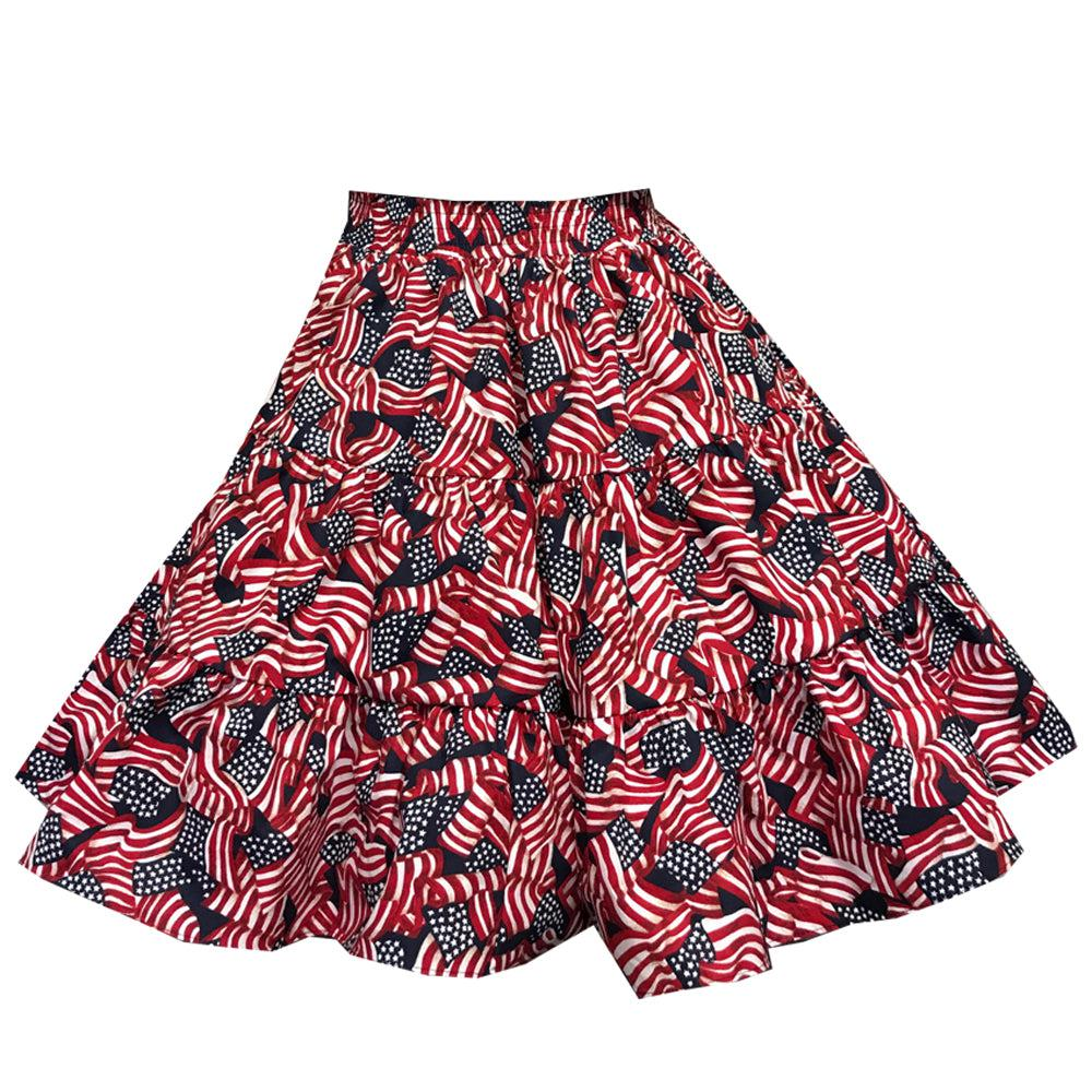 Flag Print Square Dance Skirt, Skirt - Square Up Fashions