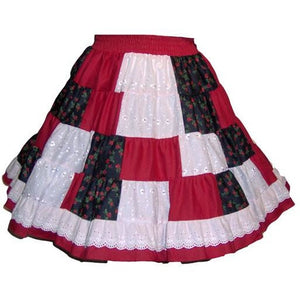 Eyelet Patchwork Square Dance Skirt, Skirt - Square Up Fashions
