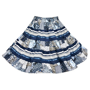 Blue Country Quilt Square Dance Skirt, Skirt - Square Up Fashions