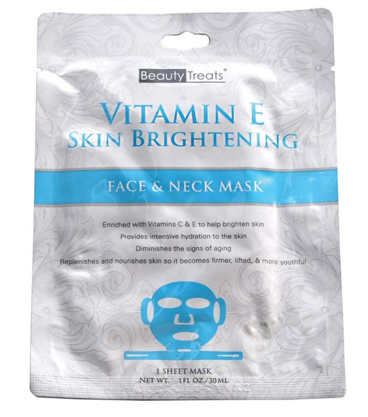 Beauty Treats Vitamin E Skin Brightening Face & Neck Sheet Mask