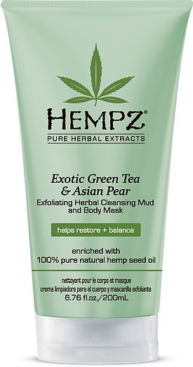 Hempz Exotic Green Tea & Asian Pear Exfoliating Herbal Cleansing Mud And Body Mask 6.76 oz