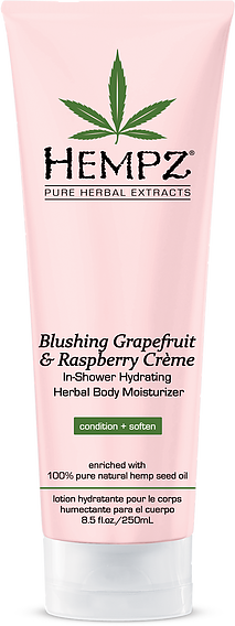 Hempz Blushing Grapefruit & Raspberry Creme In-Shower Hydrating Herbal Body Moisturizer 8.5 oz