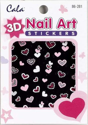 Cala 3-D Hearts Nail Art Sticker