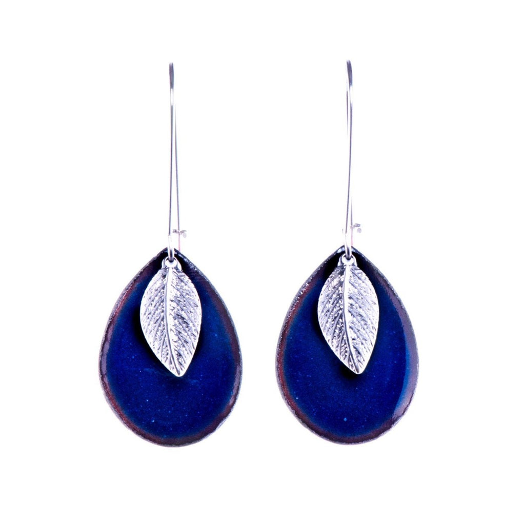 Leaf Teardrop Earrings in Shimmering Prussian Blue