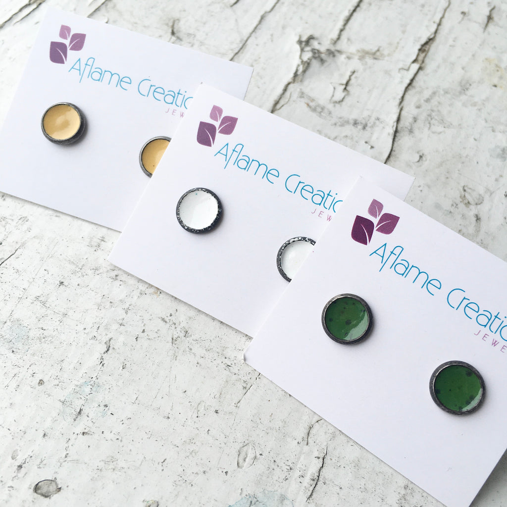 Tiny Circle Stud Earrings in Yellow, White or Grass