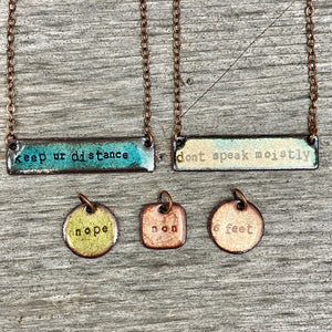 """Keep ur Distance"" Necklace in Turquoise"