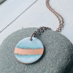 Seafoam Circle Necklace in White & Polished Copper
