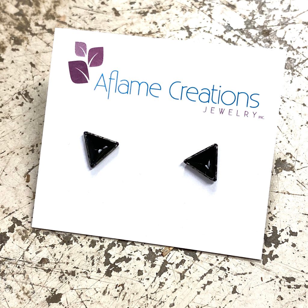 Tiny Triangle Stud Earrings in Black